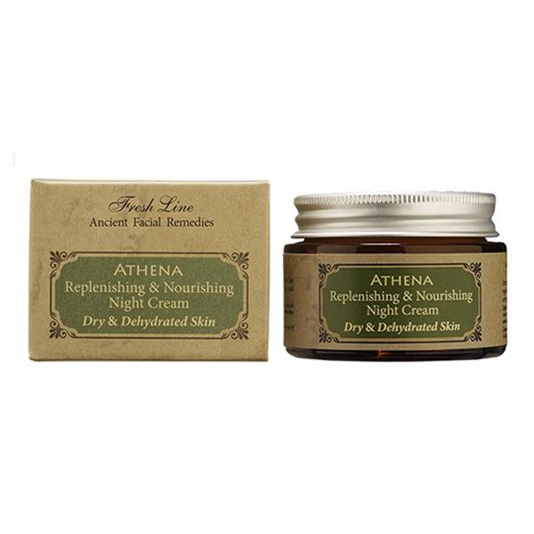 Fresh Line Крем ночной для лица Афина, 50 мл910425Ночной крем для сухой и обезвоженной кожи. Интенсивно питает, увлажняет и придает эластичность коже. Салициловая кислота, гликолиевая кислота + фруктовые кислоты удаляют омертвевшие клетки, улучшая текстуру кожи и уменьшая морщины. Натуральные масла жидкие и твердые масла в комбинации с витамином А предотвращают обезвоживание и стимулируют регенерацию клеток. Крем также предотвращает появление трещинок на коже и формирование новых морщин, так как придает упругость и насыщает влагой изнутри. Быстро впитывается, т.к. в составе содержатся только натуральные масла и отсутствуют продукты нефтехимии. Подходит для зрелой кожи