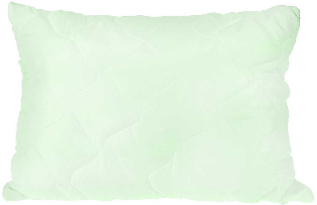 Подушка Lara Home Bamboo, наполнитель: силиконизированное волокно с содержанием бамбука, цвет: зеленый, 48 х 68 см87110Подушка Lara Home Bamboo подарит комфорт и уют во время сна. Чехол, выполненный из микроволокна (100% полиэфира), оформлен фигурной стежкой и надежноудерживает наполнитель внутри.Волокно на основе бамбука - инновационный наполнитель, обладающий за счет своей пористойструктуры хорошей воздухонепроницаемостью и высокой гигроскопичностью, обеспечиваетоптимальный уровень влажности во время сна и создает чувство прохлады в жаркие дни.Антибактериальный эффект наполнителя достигается за счет содержания в нем специальногокомпонента, а также за счет поглощения влаги, что создает сухой микроклимат, препятствующийросту бактерий. Особенности подушки:Гипоаллергенные материалы. Необычайная мягкость и легкость. Обеспечивает хорошую терморегуляцию. Обладает расслабляющим эффектом. Препятствует развитию болезнетворных бактерий. Способствует хорошему отдыху.