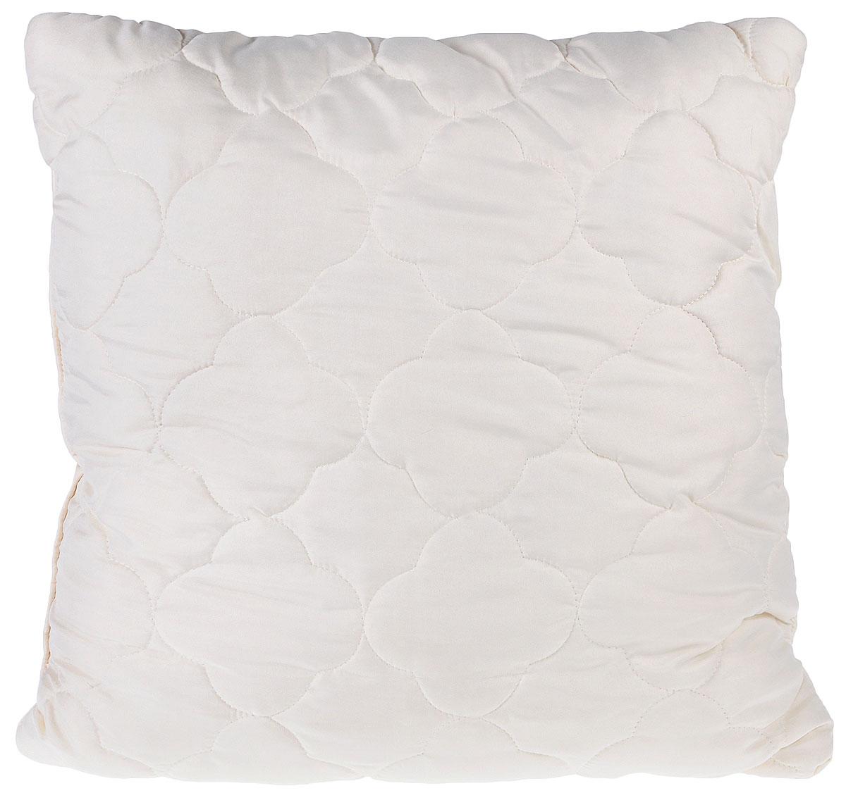 """Подушка Lara Home """"Wool"""" подарит комфорт и уют во время сна. Чехол, выполненный из микроволокна (100% полиэфира), оформлен фигурной стежкой и надежно  удерживает наполнитель внутри. Наполнитель выполнен из силиконизированного волокна и овечьей шерсти породы меринос. Особенности подушки:  Высокая воздухопроницаемость. Необычайная мягкость и легкость. Обеспечивает хорошую терморегуляцию."""