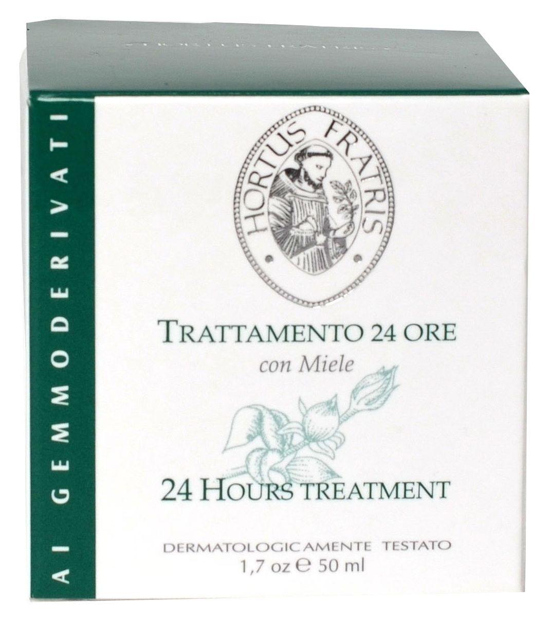 Hortus Fratris крем 24 часа для всех типов кожи, 50 мл12102Крем эффективно защищает и увлажняет кожу в течение всего дня. Самшит, мед и масляное дерево активно питают кожу и делают ее более эластичной и мягкой. Экстракты морских водорослей и бука лесного препятствуют преждевременному старению кожи, предупреждают появление морщинок. Крем содержит солнечные фильтры, которые защищают кожу от воздействия солнца и факторов окружающей среды. Имеет легкую текстуру, после нанесения не оставляет блеска, поэтому идеально подходит под макияж.