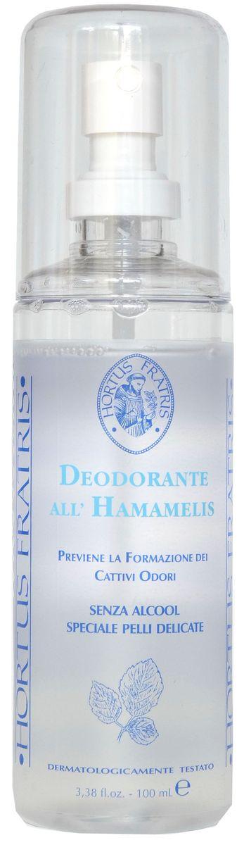 Hortus Fratris спрей-дезодорант с экстрактом гамамелиса, 100 мл14105Благодаря специальной формуле с алюминием и экстрактами гамамелиса крем-дезодорант обеспечивает деликатную и надежную защиту от неприятного запаха в течение 24 часов. Сужение проток потовых и сальных желез значительно уменьшает потоотделение и предупреждает появление неприятного запаха. Гарантирует ощущение свежести и комфорта на протяжении всего дня. Не оставляет следов на одежде.