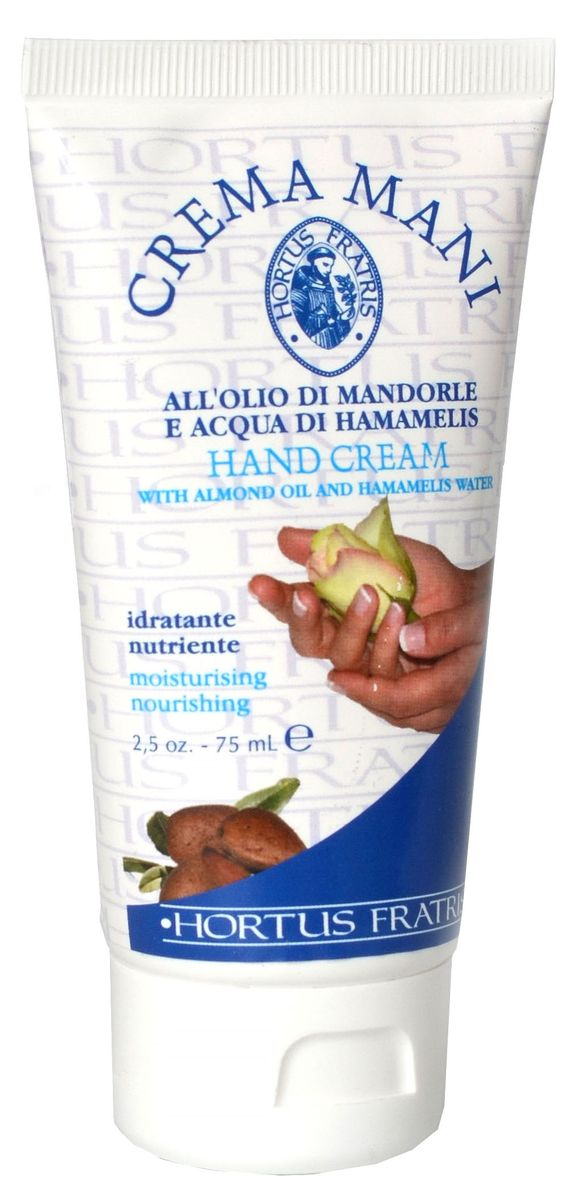 Hortus Fratris крем для рук, 75 мл14109Крем для рук с экстрактом Гамамелиса, смягчающее и питающее руки средство, делает кожу рук мягкой и увлажненной. Богатый МИНДАЛЬНЫМ МАСЛОМ, оказывает увлажняющее и смягчающее действие, идеально подходит для ухода за очень сухой кожей рук. Быстро впитывается, даря красоту и нежность твоим рукам.