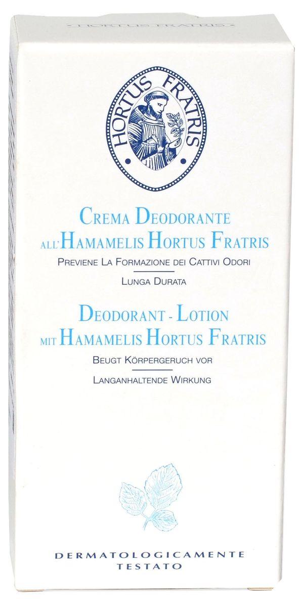 Hortus Fratris крем-дезодорант с экстрактом гамамелиса, 30 мл14110Благодаря специальной формуле с алюминием и экстрактами гамамелиса крем-дезодорант обеспечивает деликатную и надежную защиту от неприятного запаха в течение 24 часов. Сужение проток потовых и сальных желез значительно уменьшает потоотделение и предупреждает появление неприятного запаха. Гарантирует ощущение свежести и комфорта на протяжении всего дня. Не оставляет следов на одежде.