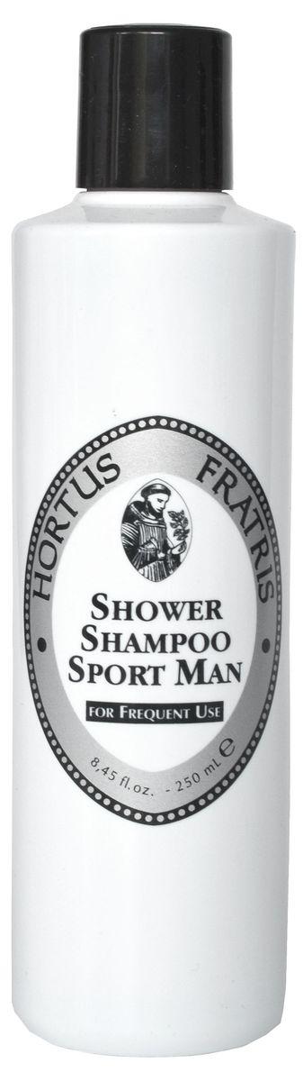 Hortus Fratris шампунь для мужчин спорт, 250 мл18106В тренажерном зале, в путешествии, он всегда нужен в твоей ванной комнате. Шампунь для душа Hortus Fratris, одним движением руки дарит уход телу и волосам. Это моющий, очищающий и ароматный шампунь для душа. Очень нежный благодаря входящему в его состав экстракту Гамамелиса.