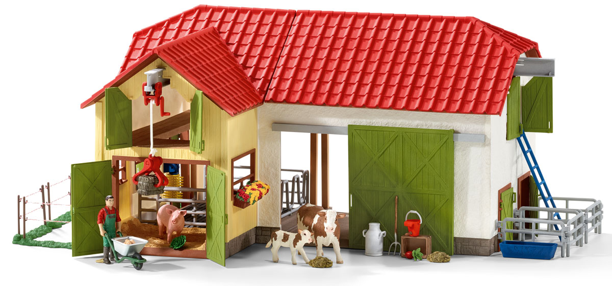 Schleich Игровой набор Большая ферма с животными и аксессуарами schleich большой набор заводь с животными