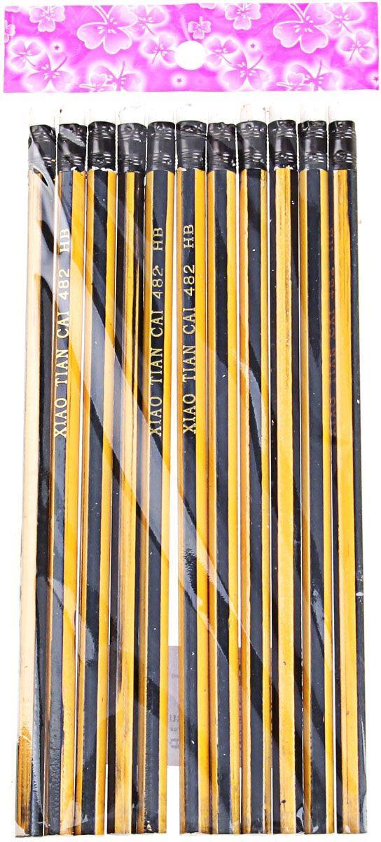 Набор карандашей чернографитных с ластиком НВ 12 шт169737Простые чернографитные карандаши – основа любого начинания. Что бы вы ни делали – рисунки, наброски, пометки – карандаш здесь становится незаменимым инструментом. Очень важно чтобы грифель был качественный, не оставлял неряшливых и неопрятных следов, не пачкал руки и не ломался.Набор состоит из 12 чернографитных карандашей с ластиками твердостью НВ в желто-черную полоску. Прочный графитовый стержень не ломается и не крошится, а деревянный корпус легко затачивается.