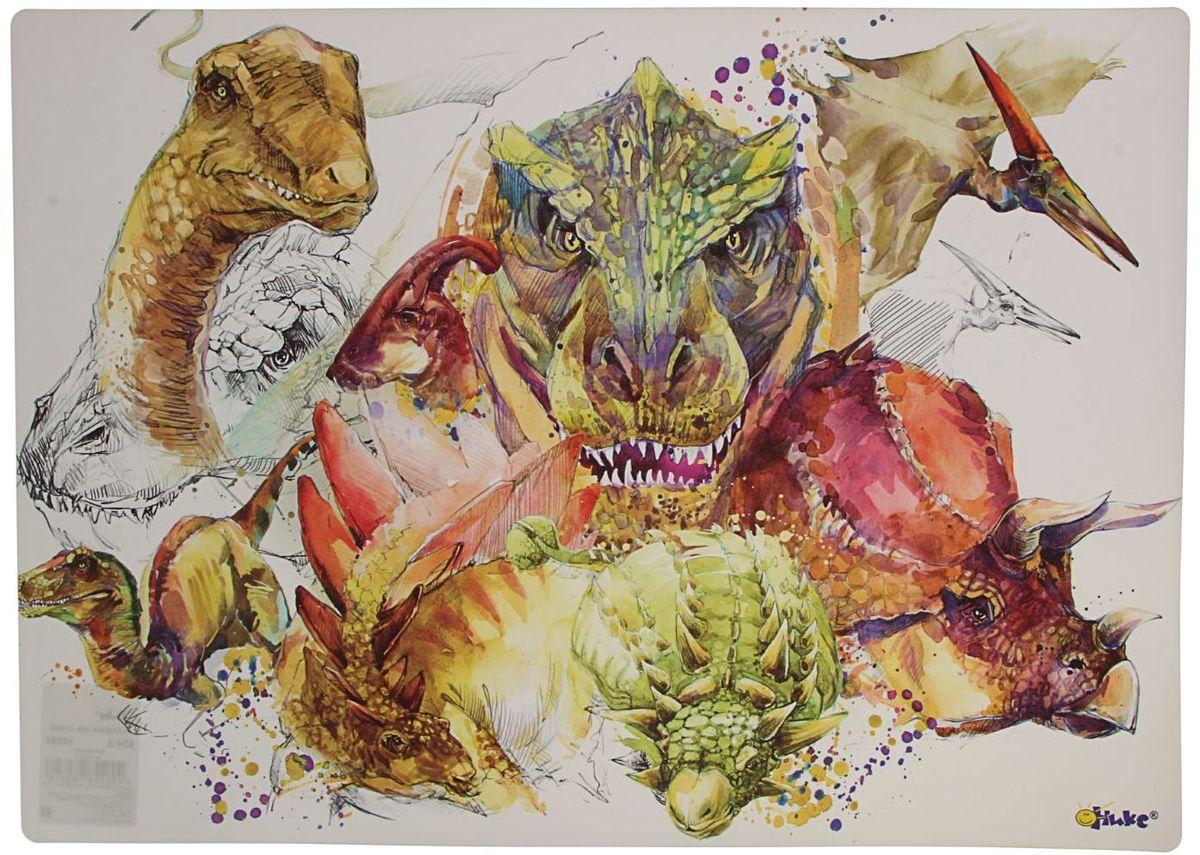 Оникс Настольное покрытие Динозавры 33 х 46 см1764561Стильное, изящное и яркое настольное покрытие станет прекрасным аксессуаром для детского рабочего стола и сбережет его от излишних всплесков энергии ребенка в виде разного рода повреждений и царапин.
