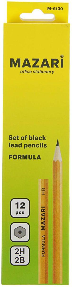 Mazari Набор чернографитных карандашей Formula 12 шт789607Набор чернографитных карандашей Mazari Formula из натурального дерева, предназначены для чертежных и художественных работ. Отлично подойдут для занятий графикой.