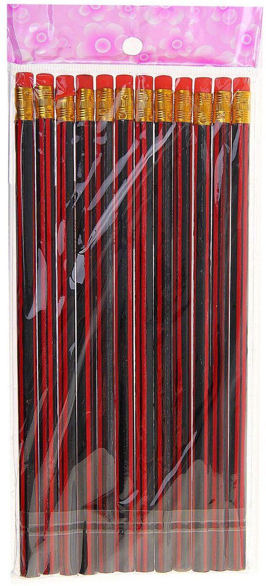 Набор чернографитных карандашей с ластиком цвет корпуса красный черный 12 шт539168Простые чернографитные карандаши с ластиком –основа любого начинания. Имеют прочный графитовый стержень, не ломаются и не крошатся, а деревянный корпус легко затачивается.