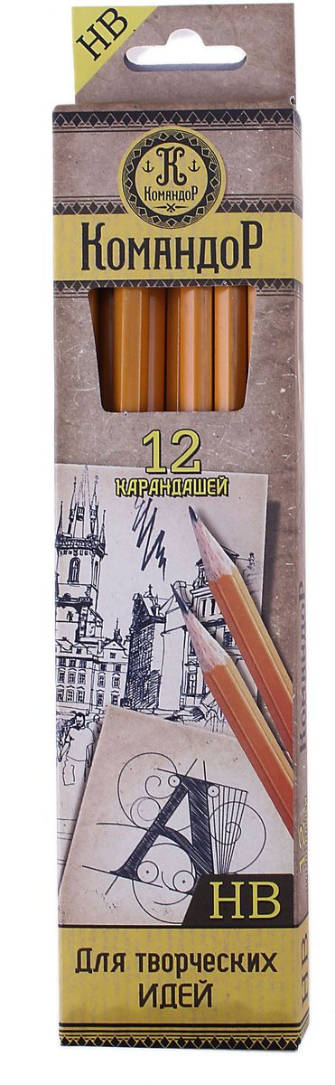 Командор Набор карандашей чернографитных с ластиком HB 12 шт613579Простые чернографитные карандаши – основа любого начинания. Что бы вы ни делали – рисунки, наброски, пометки – карандаш здесь становится незаменимым инструментом. Очень важно чтобы грифель был качественный, не оставлял неряшливых и неопрятных следов, не пачкал руки и не ломался. Набор Командор состоит из 12 карандашей чернографитных с ластиками твердостью НВ – прекрасное сочетание выгодной цены и высочайшего качества. Прочный графитовый стержень не ломается и не крошится, а деревянный корпус легко затачивается.