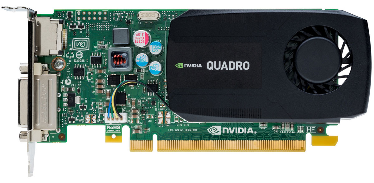 PNY NVIDIA Quadro K420 2GB видеокартаVCQK420-2GB-PBВидеокарта PNY NVIDIA Quadro K420 обеспечит отличную производительность в ведущих профессиональных приложениях. Объем встроенной памяти в 2 ГБ и низкопрофильный форм-фактор подойдет для максимальной гибкости использования.Спроектированные и созданные специально для профессиональных рабочих станций, графические процессоры NVIDIA Quadro обеспечивают мощностью более 200 профессиональных приложений в широком спектре отраслей, включая производство, масс-медиа и развлечения, науки и энергетику. Профессионалы доверяют решениям Quadro для обеспечения лучшего рабочего процесса в таких приложениях, как Adobe CS6, Avid Media Composer, Autodesk Inventor, Dassault Systemes CATIA и SolidWorks, Siemens NX, PTC Creo и многих других.PNY Technologies поставляет профессиональные графические карты со всеми необходимыми принадлежностями, включая соответствующие адаптеры, кабели, кронштейны, установочный диск и документацию для обеспечения быстрой и успешной установки.