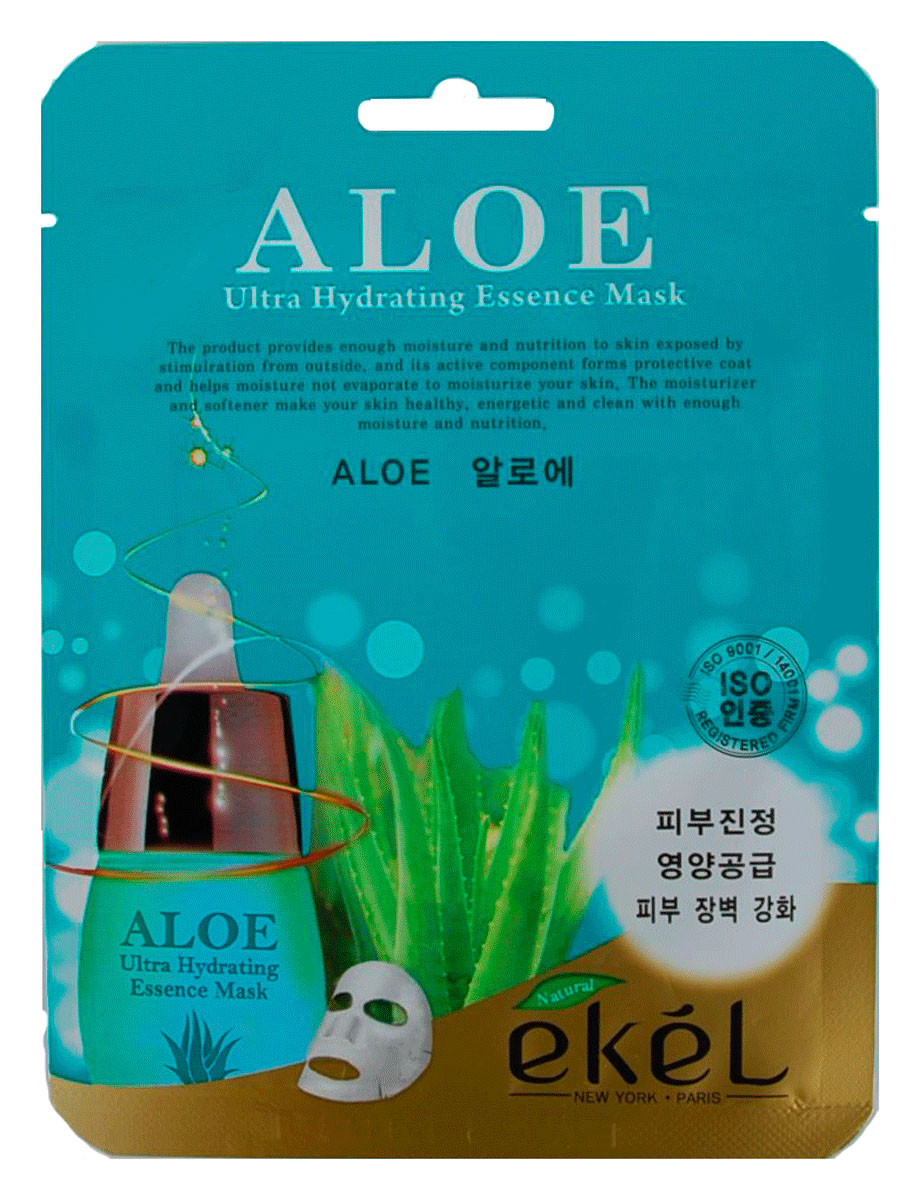 Ekel Маска тканевая с экстрактом алое, 25 гр.538785Ekel Aloe Ultra Hydrating Essence Mask - Интенсивно увлажняющая тканевая маска с экстрактом алоэ.Является прекрасным увлажнителем, улучшает кровообращение, обладает противовоспалительным свойством, снимает раздражение, стимулирует процесс регенерации клеток кожи. Кроме того, маска с алоэ оказывает очищающее и освежающее действие.Сок алоэ обладает многими полезными свойствами, в том числе и лечебными. Он великолепно очищает и разглаживает кожу, помогает избавиться от прыщей и угревой сыпи.