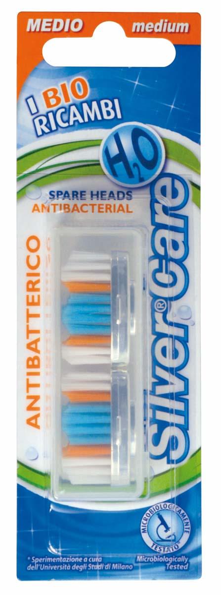 Silver Care Н2О головки сменные (в футляре 2 шт) арт.5723057Комплект сменных головок со щетиной средней степени жесткости благодаря волнообразной подстрижке особенно эффективно борется с бактериальным налетом и мягко массирует десны.