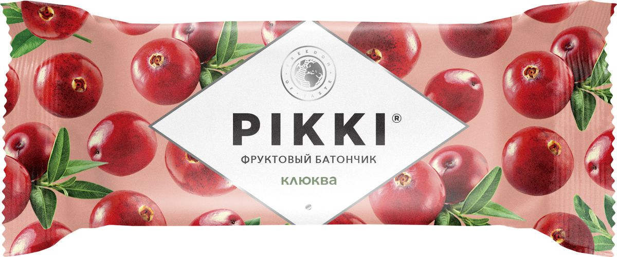 Pikki Клюква-Яблоко батончик орехово-фруктовый, 25 г pikki мюсли кокос кешью шоколад батончик орехово фруктовый 50 г