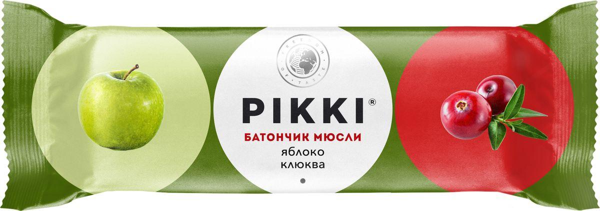 Pikki Мюсли Яблоко-Клюква батончик орехово-фруктовый, 50 г pikki чернослив яблоко батончик орехово фруктовый 25 г
