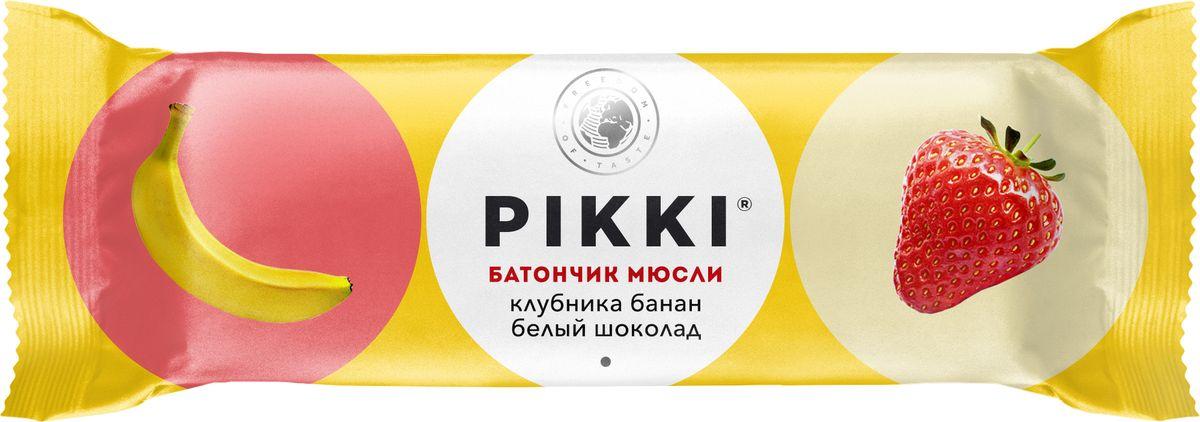Pikki Мюсли Клубника-Банан-Белый шоколад батончик орехово-фруктовый, 50 г pikki мюсли кокос кешью шоколад батончик орехово фруктовый 50 г