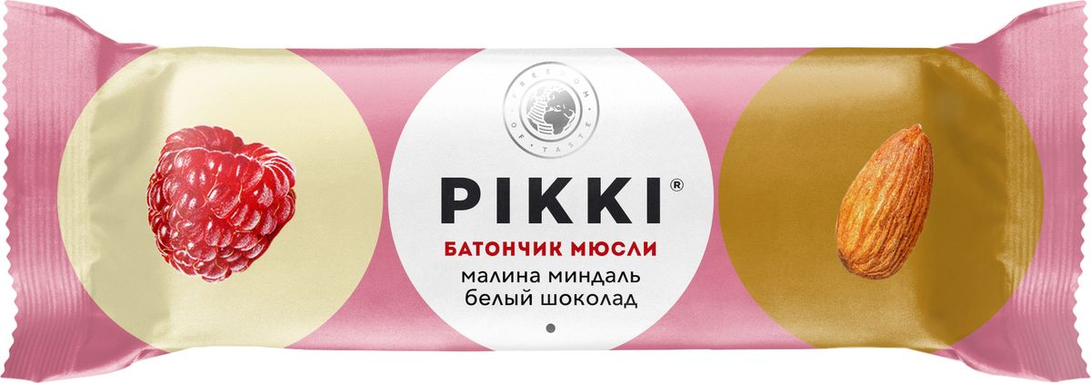 Pikki Мюсли Малина-Миндаль-Белый шоколад батончик орехово-фруктовый, 50 гУТ040810420Полезные снеки из орехов, злаков и сухофруктов для быстрого перекуса.