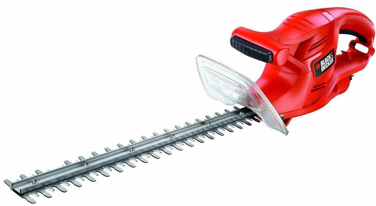 Кусторез электрический Black&Decker GT4245GT4245Кусторез электрический Black&Decker GT4245 - это надежный инструмент для ухода за живыми изгородями, садовыми деревьями и кустами. Малый вес и удобная прорезиненная ручка позволяют удобно и легко работать без усталости. Для безопасной работы устройство оснащено предохранителем от случайного включения и щитком для защиты рук. Преимущества модели: 45 см ножи с ходом 16 мм подходят для небольших кустов и живых изгородей.Долговечные, надежные и острые металлические ножи.Ощущение комфорта и надежности в работе.Двуручное включение для предотвращения внезапного старта.Простое управление кабелем, который никогда не окажется в зоне работы ножей.Крепление для кабеля для надежного управления.Технические характеристики: Мощность: 420 Вт.Длина ножа: 45 см.Шаг ножей: 16 мм.Ножи: двухсторонние.Вес: 2,1 кг.Акустическая мощность: 93 дБ(А).Вибрация: 2.3 м/с2.
