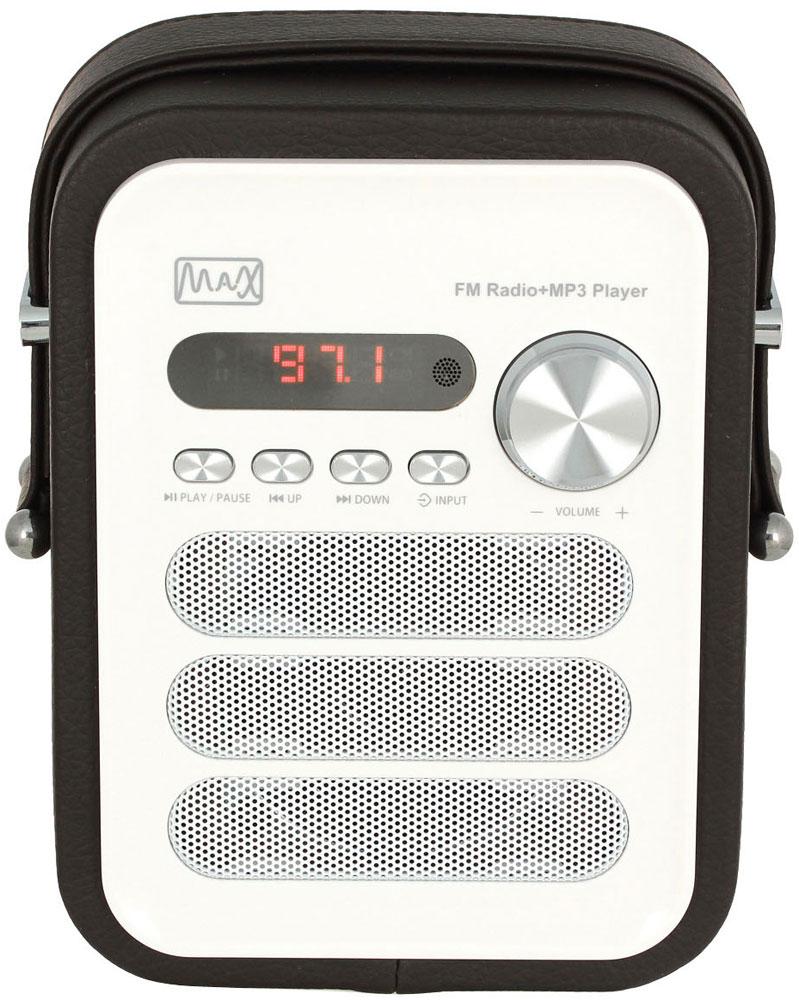 MAX MR-330, Black White портативный радиоприемник с MP34630011250642Радиоприёмник MAX MR-330 поддерживает трансляцию FM-радиостанций и умеет воспроизводить MP3-файлы.Акустика приёмника MR-330 воспроизводит широкий диапазон звучания: от 100 Гц до 18 кГц, оптимизированный с помощью усилителя на 5 Вт. За высокие и средние частоты отвечает монодинамик, низкие ноты усиливает 2-дюймовый сабвуфер. Благодаря этому радиоприёмник MAX MR-330 звучит не только громко, но и чисто.Панель управления расположена в лицевой части приёмника. Кроме неё, управлять работой устройства можно с дистанционного пульта, поддерживающего все функции аппарата - от настройки канала радиовещания до воспроизведения аудиофайлов.Приёмник умеет воспроизводить аудиофайлы формата MP3 и WMA. Внутренний плеер MR-330 считывает файлы с карт памяти и флешек объёмом до 32 ГБ.
