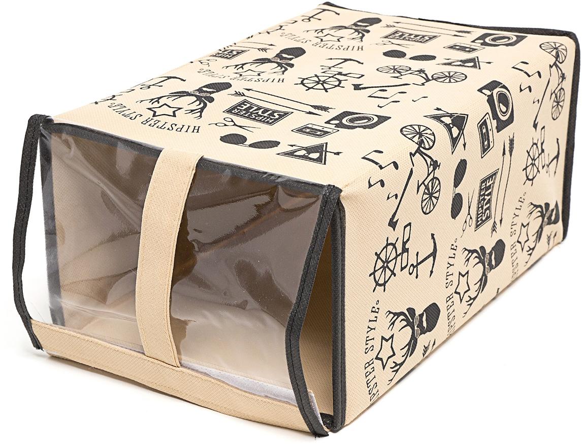 Набор коробок для хранения обуви Homsu Hipster Style, 33 х 22 х 16 см, 3 штDEN-86Этот комплект - идеальный вариант для хранения обуви, вместо стандартной коробки. Изделие выполнено из спанбонда и картона, и оформлено принтом. Прозрачная крышка позволяет видеть, какая именно обувь находится внутри. Коробки удобно хранить друг на друге или в один ряд. Имеет жесткие борта, что является гарантией сохранности вещей.