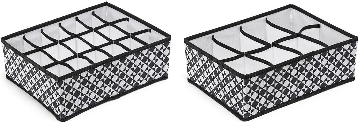 Набор органайзеров Homsu, 31 х 24 х 11 см, 2 штDEN-75Набор органайзеров Homsu, выполненный из картона и спанбонда, состоит из прямоугольного органайзера с 18 раздельными ячейками и прямоугольного органайзера с 8 раздельными ячейками. Они очень удобны для хранения мелких вещей в вашем ящике или на полке. Идеально подойдут для носков, платков, галстуков и других вещей ежедневного пользования. Имеют жесткие борта, что является гарантией сохранности вещей.