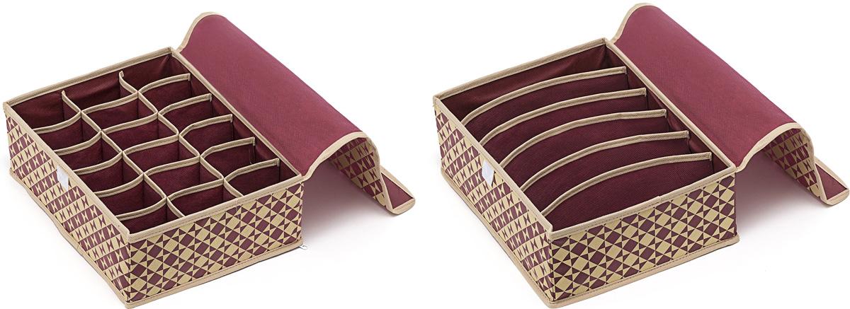 Набор органайзеров Homsu, с крышкой, 31 х 24 х 11 см, 2 штDEN-76Этот комплект состоит из прямоугольного и плоского органайзера с крышкой с 18 раздельными ячейками, размером 7 см на 5 см, и прямоугольного и плоского органайзера с крышкой с 6 раздельными ячейками, размером 23 см на 5 см. Они очень удобны для хранения мелких вещей в вашем ящике или на полке. Идеально подойдут для носков, платков, галстуков и других вещей ежедневного пользования. Имеют жесткие борта и гибкую крышку, что является гарантией сохранности вещей.