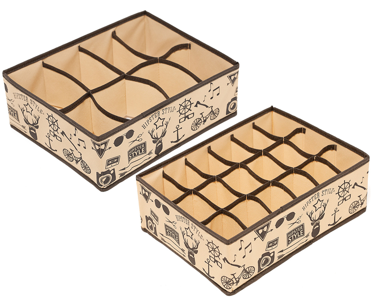 Набор органайзеров Homsu Hipster Style, 31 х 24 х 11 см, 2 штDEN-84Этот комплект состоит из прямоугольного и плоского органайзера с 18 раздельными ячейками, размером 7 см на 5 см, и прямоугольного и плоскогоорганайзера с 8 раздельными ячейками, размером 12 см на 8 см. Они очень удобны для хранения мелких вещей в вашем ящике или на полке. Идеальноподойдут для носков, платков, галстуков и других вещей ежедневного пользования. Имеют жесткие борта, что является гарантией сохранностивещей.