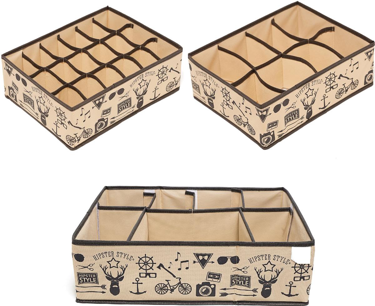 """Набор органайзеров """"Homsu"""" выполнен из спанбонда и картона. Этот комплект состоит из прямоугольного органайзера с 18 раздельными ячейками, прямоугольного органайзера с 8 раздельными ячейками и супер универсального органайзера с секциями разного размера, которые несомненно наведут порядок в любом ящике комода или на полке. Они очень удобны для хранения мелких вещей. Идеально подойдут для носков, платков, галстуков и других вещей ежедневного пользования. Имеют жесткие борта, что является гарантией сохранности вещей."""