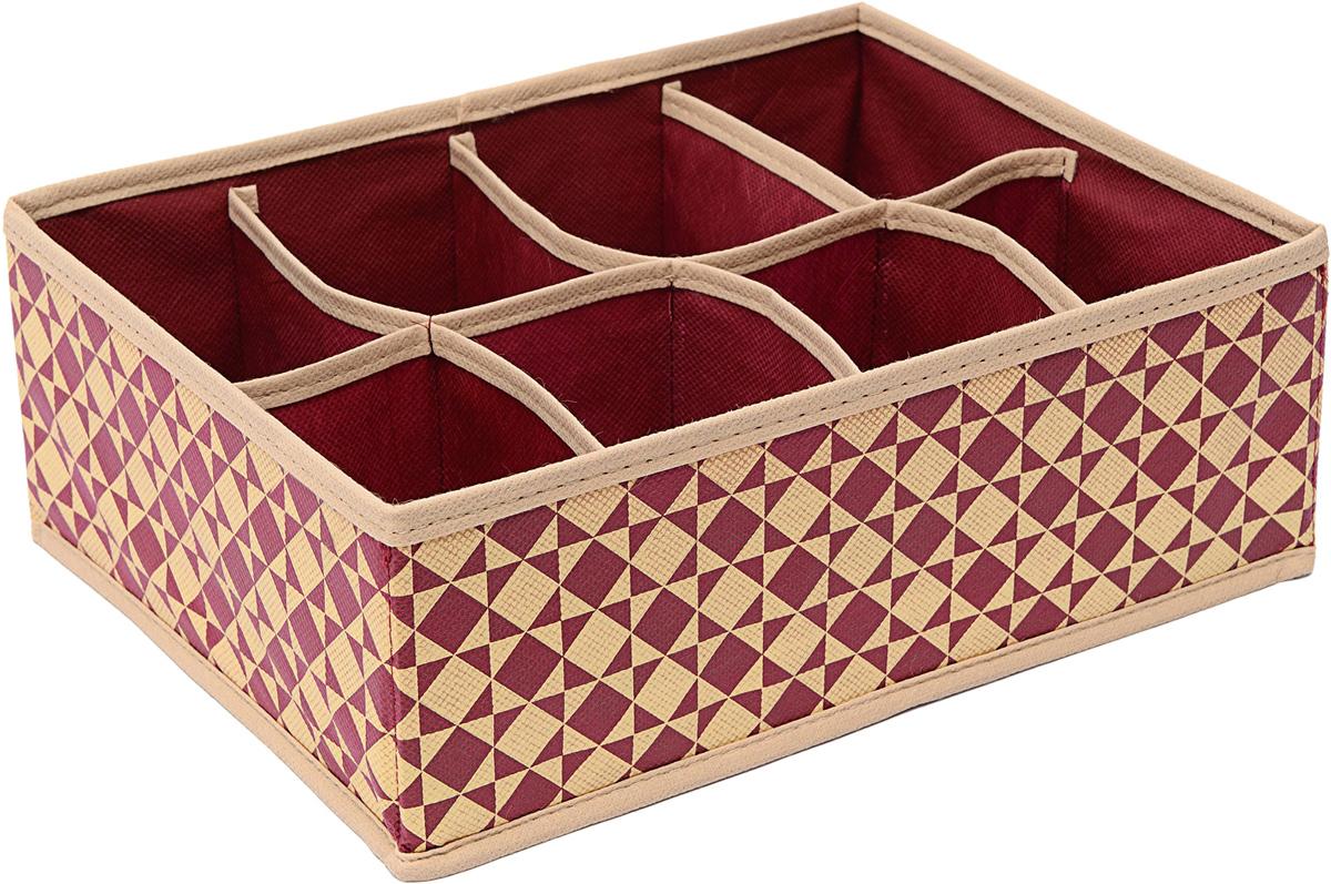 Органайзер Homsu Bordo, цвет: бордовый, бежевый, 31 х 21 х 11 смHOM-778Органайзер Homsu Bordo выполнен из спанбонда и картона. Прямоугольный и плоский органайзер имеет 8 раздельных ячеек, очень удобен для хранения вещей среднего размера в ящике или на полке. Идеально для белья, шапок, рукавиц и других вещей ежедневного пользования. Имеет жесткие борта, что является гарантией сохранности вещей.