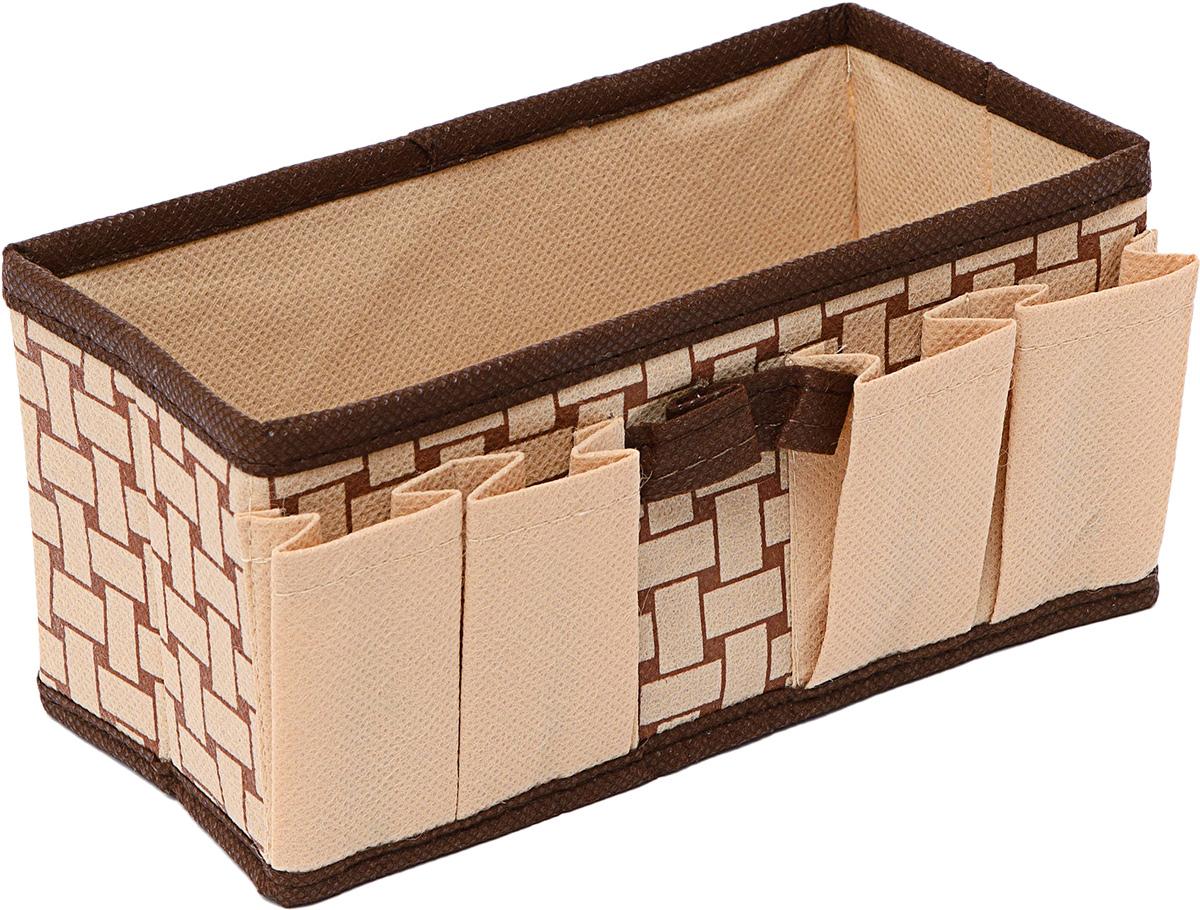Органайзер Homsu Pletenka, для украшений и мелочей, 20 х 10 х 10 смHOM-775Органайзер Homsu  Pletenka выполнен из спанбонда и картона. Супер универсальный органайзер имеет 1 секцию и 4 кармашка, он наведет порядок в любом ящике комода или на полке. Универсальная коробочка для хранения канцелярии, бижутерии, косметики.