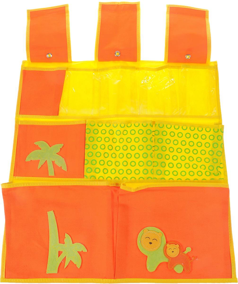 Кофр подвесной Все на местах Sunny Jungle, цвет: желтый, оранжевый, 10 секций, 53,5 х 56,5 см. 1071024/11071024/1Подвесной кофр Все на местах Sunny Jungle изготовлен из высококачественного нетканого волокна, которое позволяет воздуху проникать внутрь, при этом надежно защищая вещи от грязи, пыли, солнечных лучей и насекомых. Аппликация на кофре выполнена из войлока. Кофр имеет 4 прозрачных кармашка, изготовленных из ПВХ и 6 кармашков из нетканого волокна. В шкафу всегда будет порядок, так как такой кофр не только очень компактен, но и, несмотря на свои размеры, вмещает множество вещей. Изделие снабжено петлями и липучками, с помощью которых закрепляется кофр.