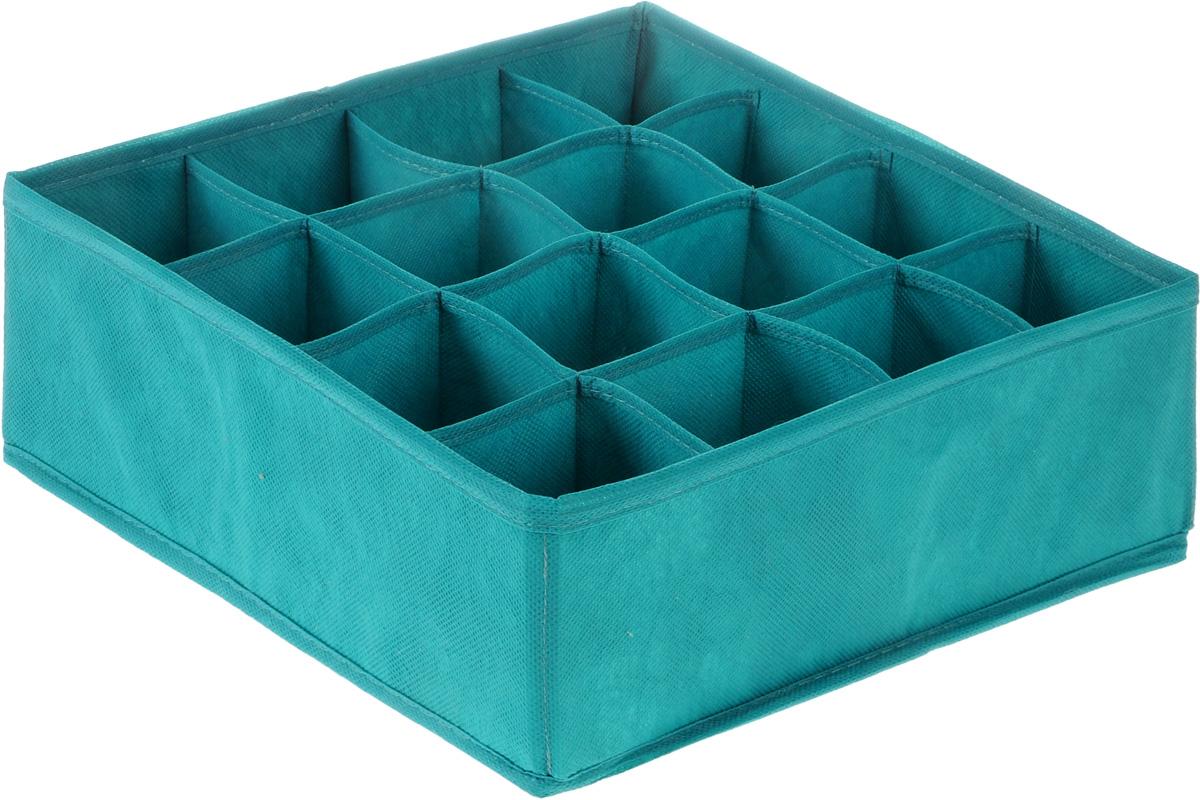 Органайзер Все на местах Minimalistic, цвет: бирюзовый, 16 ячеек, 32 х 32 х 12 см1012043.Органайзер Все на местах Minimalistic сшит из плотного нетканого материала, в дно органайзера вшита молния, позволяющая складывать и убирать его, если в нем отпала необходимость. Изделие с 16 квадратными секциями поможет вам хранить колготы, носки, трусы в идеальном порядке. Теперь все носки или все мелкие предметы нижнего белья поместятся в одном органайзере. Внутренние перегородки в коробе мягкие, что позволяет вещам легко разместиться внутри, наружные стенки укреплены пластиком, и поэтому короб отлично держит форму.Специально создан для использования в комодах и выдвижных ящиках. В сочетании с другими органайзерами позволит создать подходящую именно вам, максимально удобную и красивую систему хранения вещей, одежды и белья.