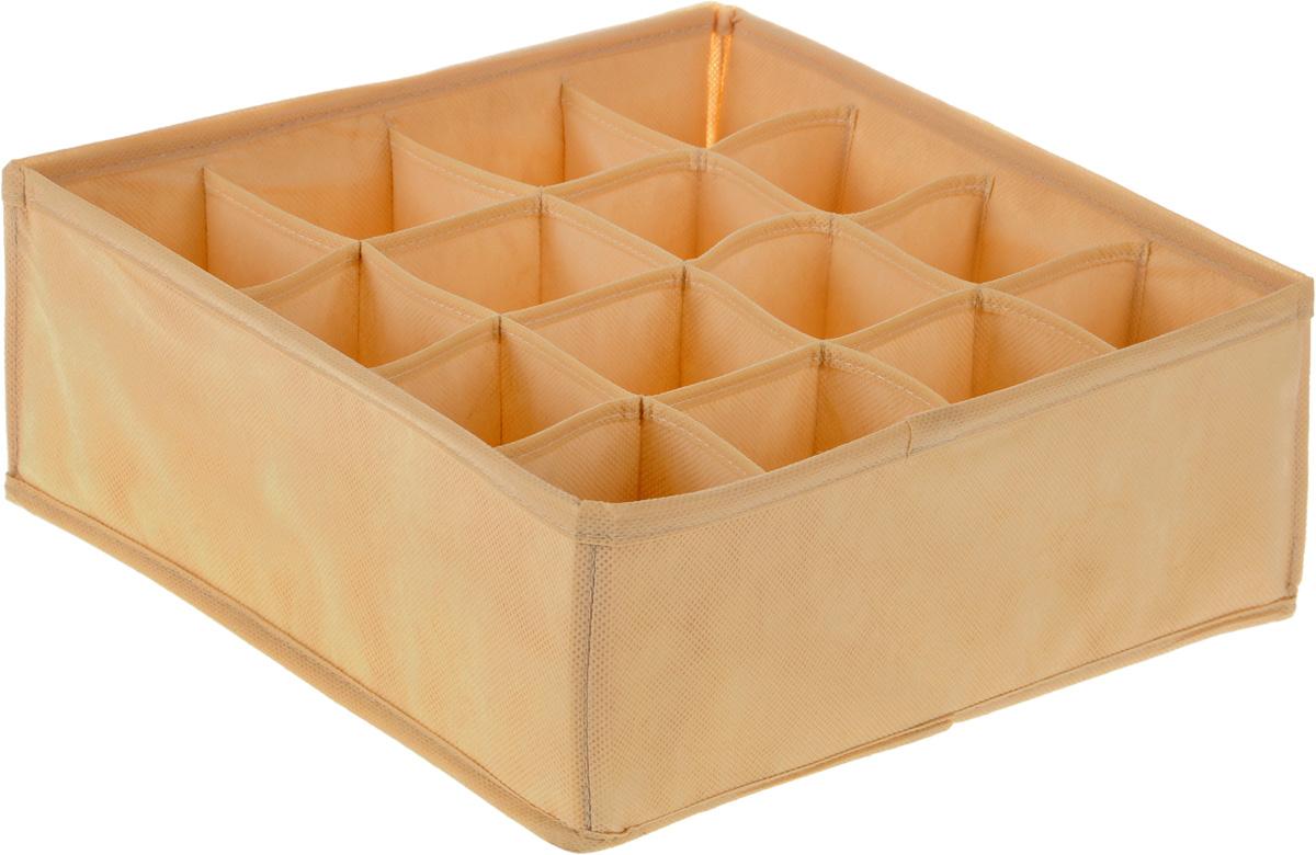 Органайзер Все на местах Minimalistic, цвет: бежевый, 16 ячеек, 32 х 32 х 12 см1011043.Органайзер Все на местах Minimalistic сшит из плотного нетканого материала, в дно органайзера вшита молния, позволяющая складывать и убирать его, если в нем отпала необходимость. Изделие с 16 квадратными секциями поможет вам хранить колготы, носки, трусы в идеальном порядке. Теперь все носки или все мелкие предметы нижнего белья поместятся в одном органайзере. Внутренние перегородки в коробе мягкие, что позволяет вещам легко разместиться внутри, наружные стенки укреплены пластиком, и поэтому короб отлично держит форму.Специально создан для использования в комодах и выдвижных ящиках. В сочетании с другими органайзерами позволит создать подходящую именно вам, максимально удобную и красивую систему хранения вещей, одежды и белья.