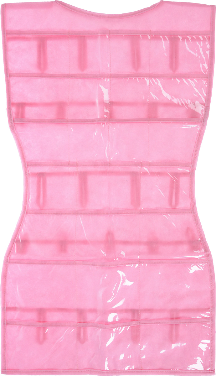 Органайзер для аксессуаров Все на местах Minimalistic. Платье, подвесной, цвет: розовый, 24 кармана, 70 x 40 см1014014.Подвесной органайзер Все на местах Minimalistic. Платье, изготовленный из ПВХ и спанбонда, предназначен для хранения необходимых вещей, множества мелочей в гардеробной, ванной комнате. Изделие выполнено в форме платья с 24 пришитыми кармашками. Также с обратной стороны имеются петельки, на которые удобно вешать ремни и другие аксессуары.Этот нужный предмет может стать одновременно и декоративным элементом комнаты. Яркий дизайн, как ничто иное, способен оживить интерьер вашего дома. Размер органайзера: 70 х 40 см.