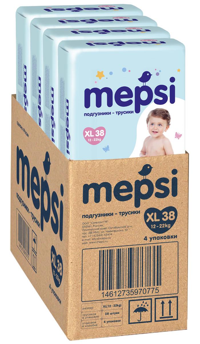 Mepsi Детские подгузники-трусики XL 12-22 кг 38 шт 4 упаковки