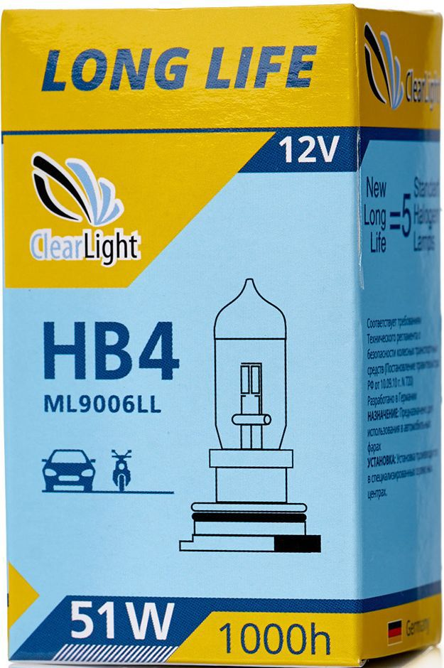 Лампа автомобильная галогенная Clearlight HB4 LongLifeML9006LLLONG LIFE- высокая яркость с длительным сроком службы. Качество оригинальной лампы.