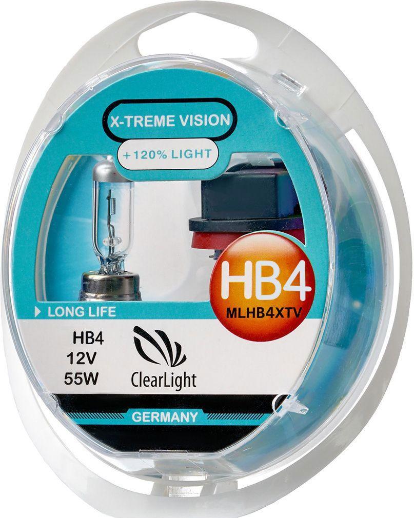 Лампа автомобильная галогенная Clearlight HB4 X-treme Vision +120% Light, 2 штML9006XTV120X-treme Vision Дает увеличенный на 120% световой поток по сравнению со стандартными лампами, сохранив регламентированные стандарты мощности за счет увеличения длины нити накаливания, дополнительных витков спирали и специального состава газа в колбе. Цветовая температура смещена в сектор белого света, вместо желтоватого оттенка. Оптимальна для прохождения техосмотра и идеально подходит как для линзованной оптики, так и для обычных отражателей FF.