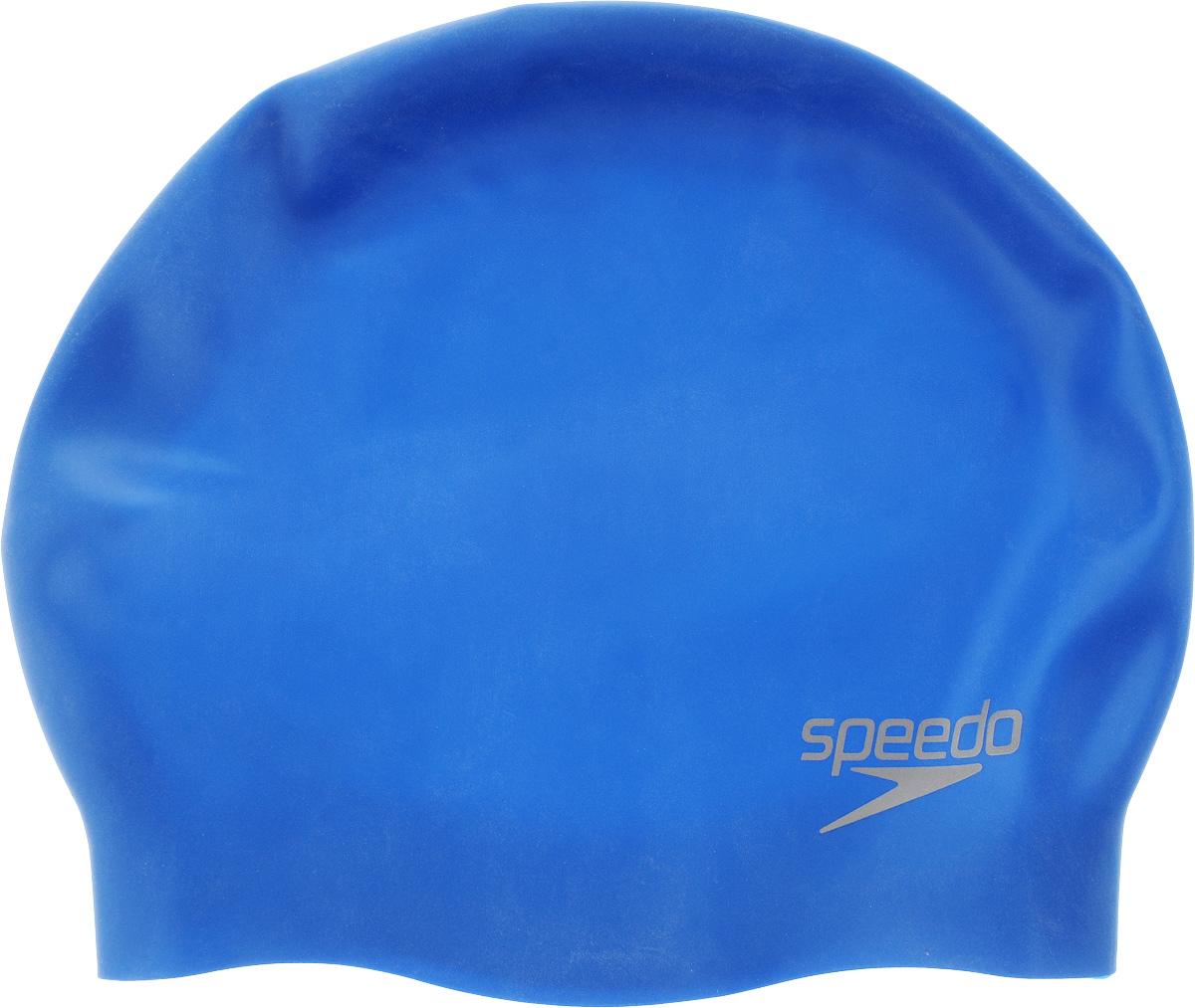 Шапочка для плавания Speedo Silc Moud Cap Au, цвет: голубой709842610Яркая силиконовая шапочка Speedo Silc Moud Cap Au обеспечивает плотное прилегание и полную защиту от попадания воды. 3D дизайн повторяет контуры головы для непревзойденного комфорта посадки. Отлично подойдет для тренировок в бассейне. Шапочка выполнена из высококачественного силикона.