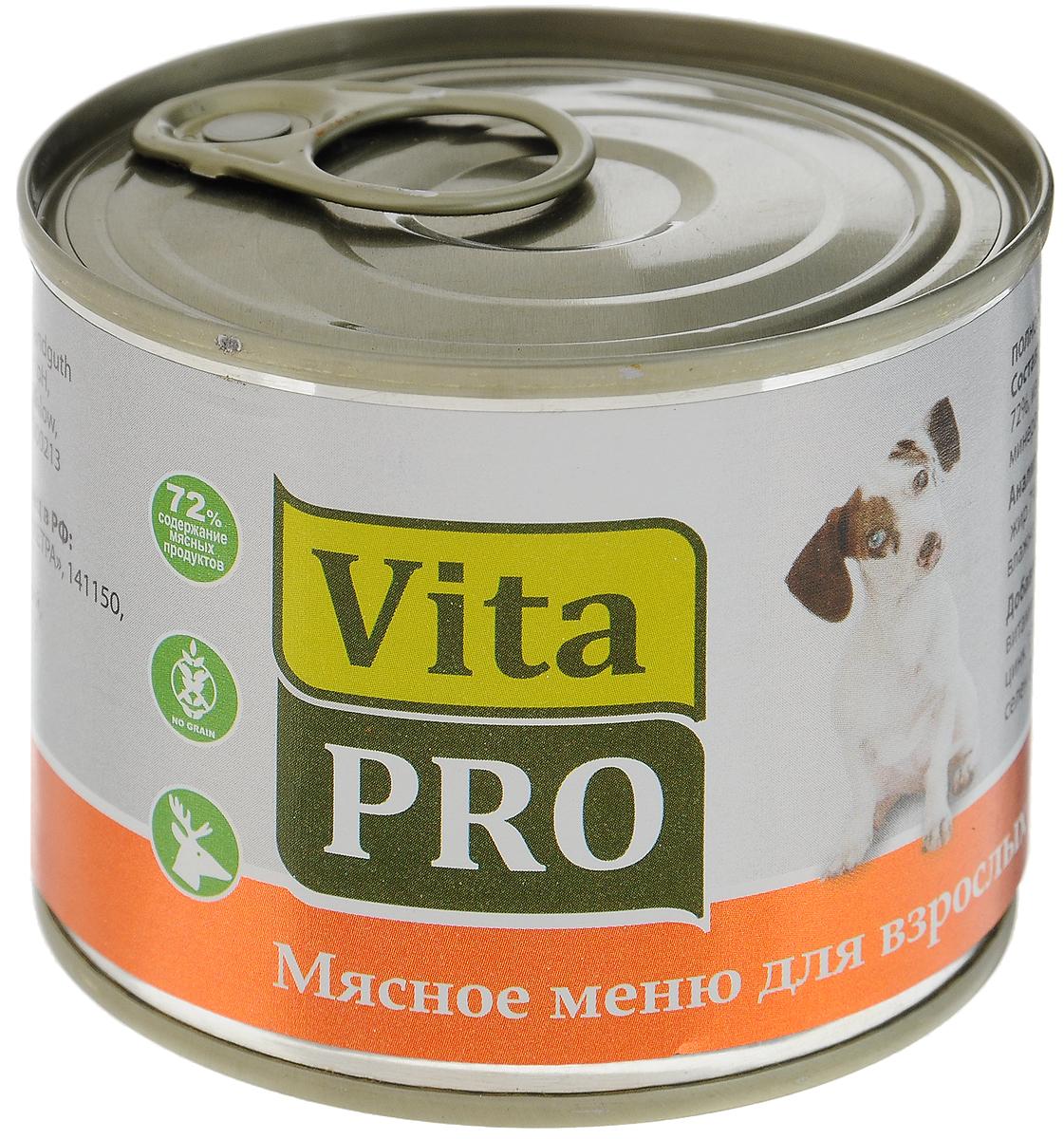 Консервы Vita ProМясное меню для собак, дичь, 200 г90009Консервы Vita ProМясное меню - это корм из натурального мяса без овощей и злаков с добавлением кальция для растущего организма. Не содержит искусственных красителей и усилителей вкуса. Имеет крупнофаршевую текстуру.Товар сертифицирован.