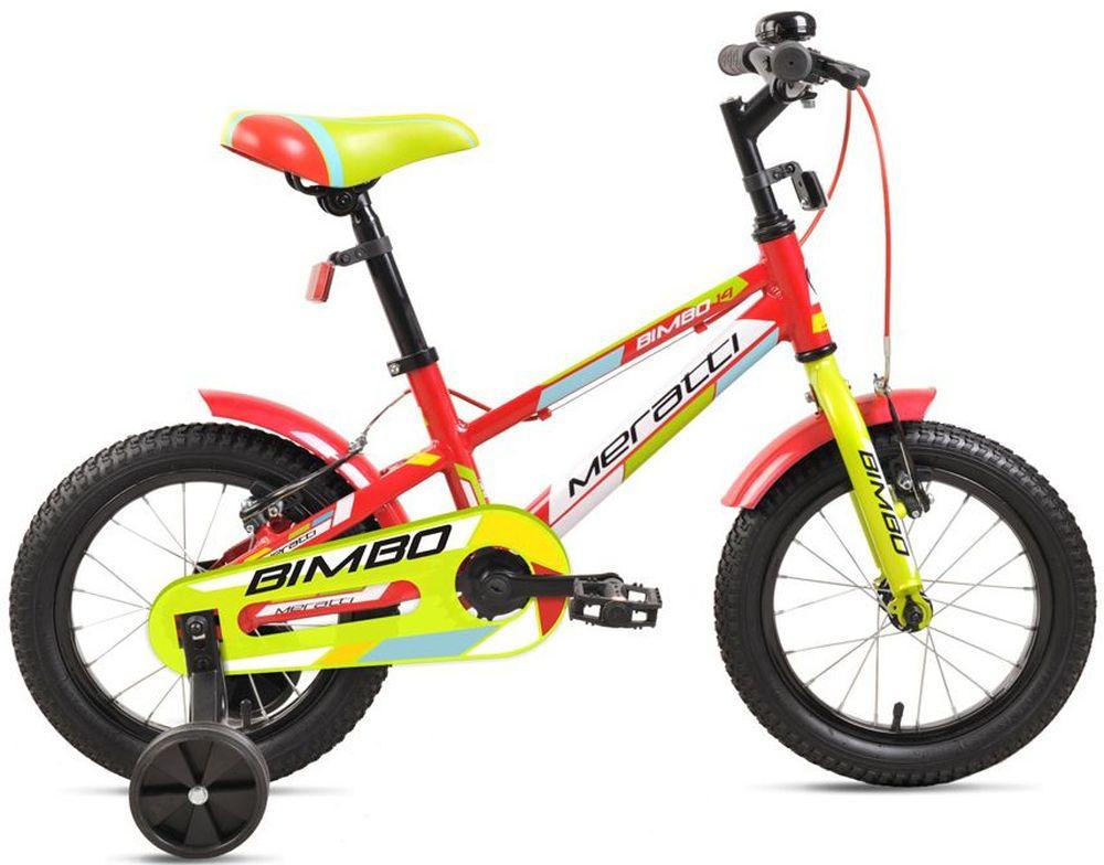 Велосипед Meratti Bimbo 14, цвет: красный, желтый332253Велосипед Meratti Bimbo отлично подойдет вашему ребенку. Рама выполнена из высококачественной стали. Велосипед оснащен звонком, оповещающим прохожих о приближении ребенка. Крылья защитят ездока от грязи. Безопасность юного велосипедиста обеспечивают передние и задние ручные тормоза. Ноги и одежда защищены от контакта с цепью специальной накладкой. От падения на слишком крутых виражах предохраняет пара дополнительных съемных колес. Велосипед Meratti Bimbo - это отличный способ дать вашему ребенку возможность чаще бывать на свежем воздухе, много двигаясь с пользой для здоровья.Какой велосипед выбрать? Статья OZON Гид