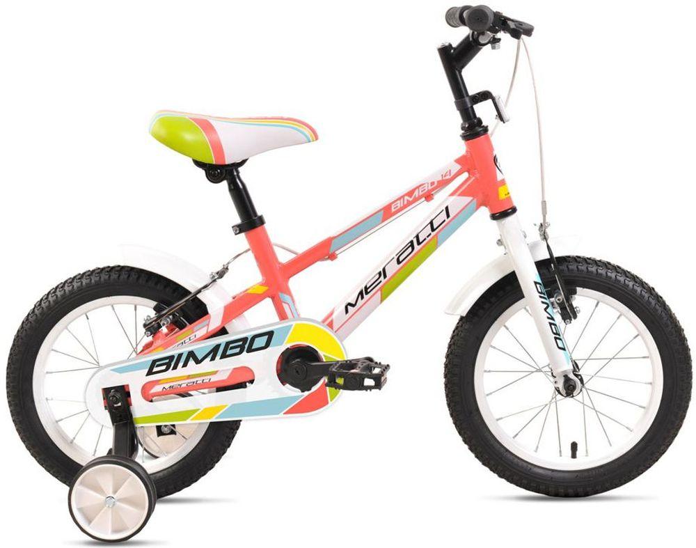 Велосипед Meratti Bimbo 14, цвет: розовый332254Велосипед Meratti Bimbo 14 отлично подойдет вашему ребенку. Рама выполнена из высококачественной стали. Велосипед оснащен звонком, оповещающим прохожих о приближении ребенка. Крылья защитят ездока от грязи. Безопасность юного велосипедиста обеспечивают передние и задние ручные тормоза. Ноги и одежда защищены от контакта с цепью специальной накладкой. От падения на слишком крутых виражах предохраняет пара дополнительных съемных колес. Велосипед Meratti Bimbo 14 - это отличный способ дать вашему ребенку возможность чаще бывать на свежем воздухе, много двигаясь с пользой для здоровья. Рама: алюминий. Вилка: жесткая, алюминий. Количество скоростей: 1. Размер колес: 14. Резина: 14 х 2,125 BMX Pattern. Обода: стальные усиленные 14. Тормоза: ободные.Какой велосипед выбрать? Статья OZON Гид