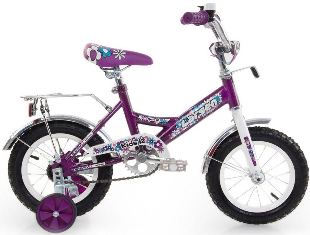 Велосипед детский Larsen  Kids 12 , цвет: фиолетовый - Детские велосипеды