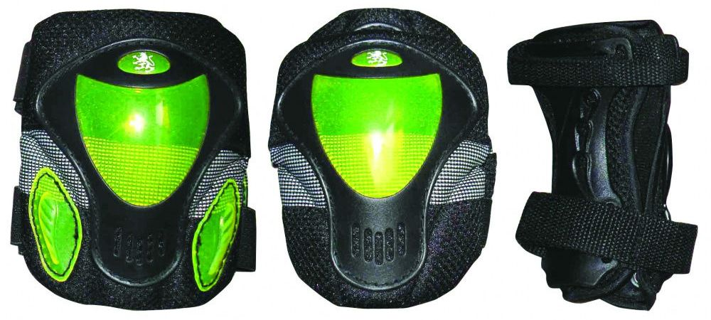 Защита роликовая Larsen P9B, цвет: зеленый. Размер XSZS-100Защита роликовая Larsen P9B выполнена из полипропилена и полиэстера. В комплект входят: два налокотника, два наколенника, две защиты запястья.