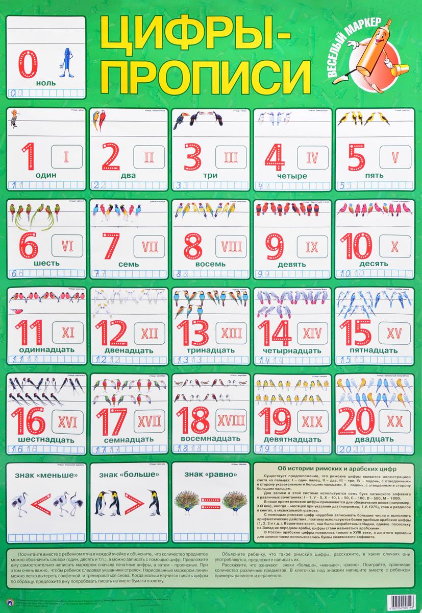 Цифры-прописи. Плакат disney книжка с маркером прописи учим цифры микки маус проф пресс