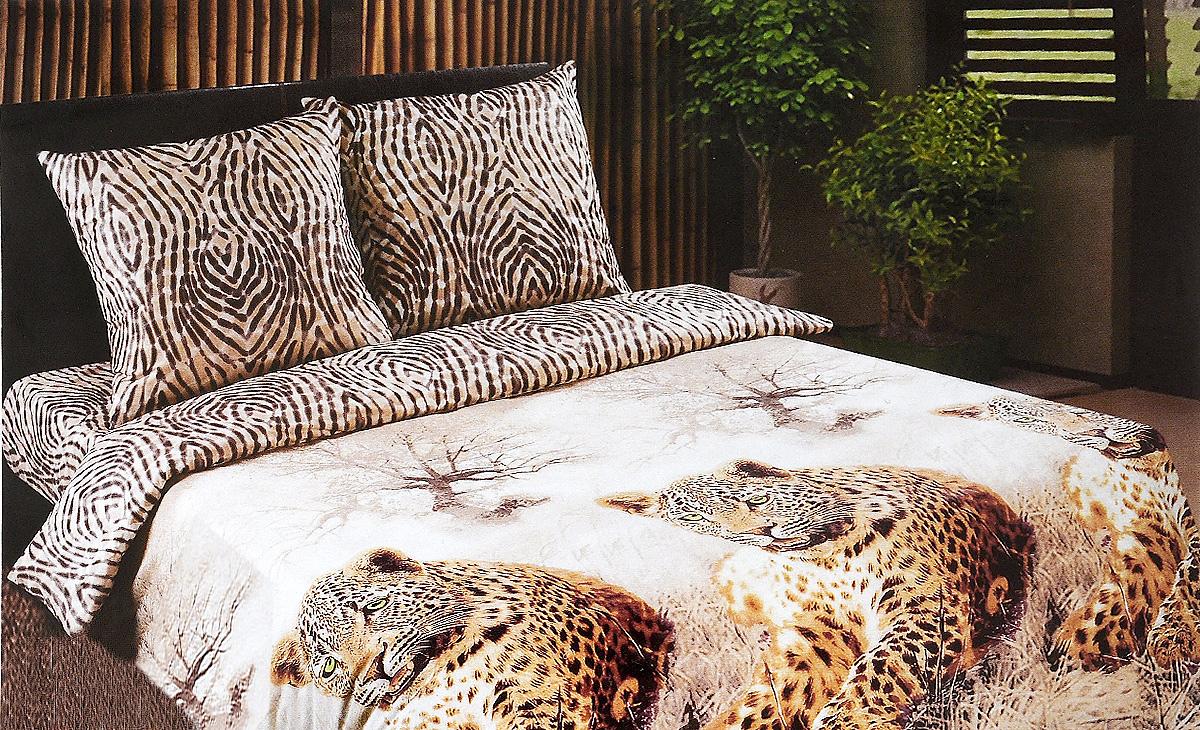 """Постельное белье Арт Постель """"Леопард"""", 2-спальный с евро простыней, наволочки 70х70, АртПостель"""