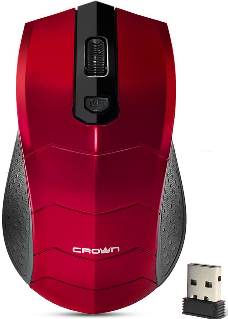 Crown CMM-934W, Red беспроводная мышьCM000001534Мышь Crown CMM-934W настолько комфортна, что ваши руки долго не устанут от работы. Она работает почти на всех поверхностях. Имеется функция автоматического отключения питания. Одним нажатием можно переключить разрешение мыши. Кроме этого, классический дизайн не оставит вас равнодушными.