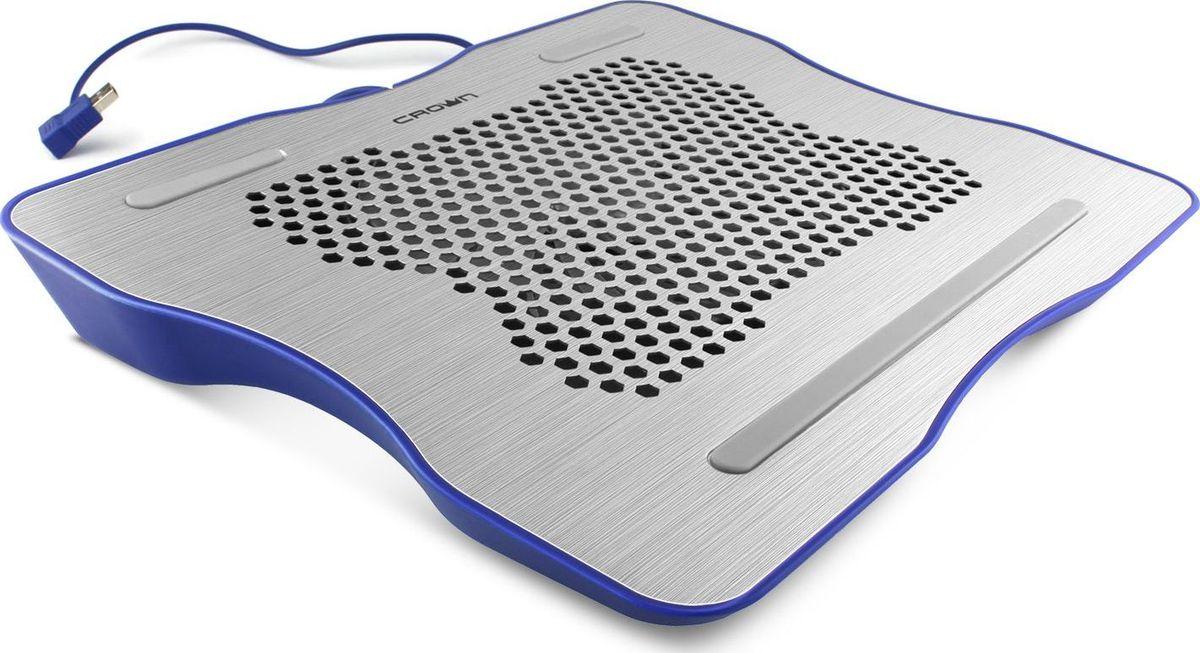 Crown CMLC-1001, Silver Blue охлаждающая подставка для ноутбука 15,6CM000001372Универсальная охлаждающая подставка для ноутбука продлевает срок службы, защищает от падения производительности из-за перегрева и обеспечивает удобное положение ноутбука при работе. Подходит для большинства моделей с диагональю экрана до 12-15.6 (30,5 - 39,6 см), имеет компактные размеры 331х264х43 мм, вес 530 г и станет хорошим дополнением к ноутбуку.Активная система охлаждения.Охлаждающая подставка оснащена одним бесшумным кулером с повышенной мощностью потока 68.3 CFM, создающими оптимальную температуру при работе ноутбука.Обеспечивает равномерное охлаждение всей металлической поверхности.Особенности:Металлическая поверхность с перфорацией для отвода тепла;Тихий и мощный кулер;Интерфейс подключения USB.