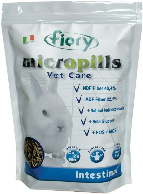 Корм сухой Fiory Micropills Vet Care Intestinal для карликовых кроликов, 850 г корм для кроликов fiory karaote 850 г