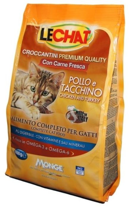 Консервы Monge Lechat Cat, для кошек, с курицей и индейкой, 400 г70061810Консервы Monge Lechat Cat - сбалансированный консервированныйкорм для кошек, который разрабатывался для кошек. Его регулярное употребление имеет массу достоинств, так как питомцы:Получают необходимую энергию через полноценное питание;становятся веселыми и игривыми;радуют хозяев здоровой и блестящей шерстью.Анализ компонентов: сырой белок 30%, сырые масла и жиры 12%, сырая зола 9,5%, сырая клетчатка 2,5%, магний 0,12%, кальций 2,5%, фосфор 1,5%, омега-6 2,38%, омега-3 0,40%.Пищевые добавки: витамин А (как ретинол ацетат) 22000 МЕ, витамин D3 (как кальциферол) 1600МЕ, витамин Е (альфа-токоферол ацетат) 120 мг/кг, таурин 1343 мг/кг, холина хлорид 2200 мг/кг, DL-метеонин 6500 мг/кг, сульфат марганца моногидрат 60 мг/кг (марганец 20 мг/кг), оксид цинка 125 мг/кг (цинк 90 мг/кг), сульфат меди пентагидрат 30 мг/кг (меди 7,8 мг/кг), сульфат железа моногидрат 215 мг/кг (железа 65 мг/кг), селенит натрия 0,30 мг/кг (селен 0,12 мг/кг), йодат кальция безводный 1,60 мг/кг (йод 1 мг/кг).Технологические добавки: антиоксиданты.Энергетическая ценность: 374 ккал/100г. Злаки, мясо и мясные субпродукты (свежее мясо курицы мин. 5%, свежее мясо индейки мин. 5%), масла и жиры (масло лосося 0,5%), овощи, рыба и рыбные субпродукты, минералы, дрожжи (маннаноолигосахариды (МОС) 500 мг/кг), фруктоолигосахариды (ФОС) 500 мг/кг, юкка Шидигера 1000 мг/кг.Корм должен быть доступен кошке без ограничения количества. Она будет съедать ровно столько, сколько необходимо её организму для поддержания оптимального веса. При избыточном весе и/или наличии других клинических проблем, рекомендуется ограничивать суточную норму корма в соответствии с рекомендациями вашего ветеринарного врача и/или следовать приведенной на упаковке таблице. ВАЖНО, чтобы у животного всегда был свободный доступ к свежей и чистой воде. Новый корм рекомендуется вводить постепенно, увеличивая его количество каждый день до полного замещения им старого корма прибли