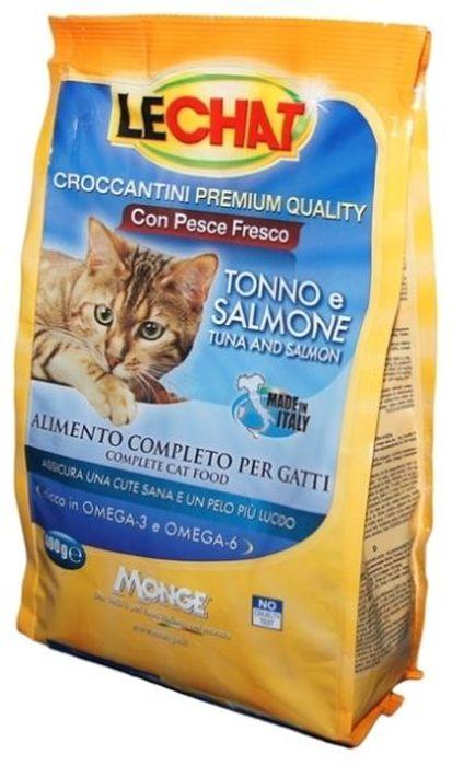 Консервы Monge Lechat Cat, для кошек, с тунцом и лососем, 400 г70061834Консервы Monge Lechat Cat - сбалансированный консервированныйкорм для кошек, который разрабатывался для кошек. Его регулярное употребление имеет массу достоинств, так как питомцы:Получают необходимую энергию через полноценное питание;становятся веселыми и игривыми;радуют хозяев здоровой и блестящей шерстью.Анализ компонентов: белок 30%, сырые масла и жиры 12%, сырая зола 9,5%, сырая клетчатка 2,5%, магний 0,12%, кальций 2,5%, фосфор 1,5%, омега-6 1,88%, омега-3 0,75%.Пищевые добавки: витамин А(как ретинол ацетат) 22000 МЕ, витамин D3 (как кальциферол) 1600МЕ, витамин Е (альфа-токоферол ацетат) 120 мг/кг, таурин 1343 мг/кг, холина хлорид 2200 мг/кг, DL-метеонин 9700 мг/кг, сульфат марганца моногидрат 60 мг/кг (марганец 20 мг/кг), оксид цинка 125 мг/кг (цинк 90 мг/кг), сульфат меди пентагидрат 30 мг/кг (меди 7,8 мг/кг), сульфат железа моногидра 215 мг/кг (железа 65 мг/кг), селенит натрия 0,30 мг/кг (селен 0,12 мг/кг), йодат кальция безводный 1,60 мг/кг (йод 1,45 мг/кг).Технологические добавки: антиоксиданты.Энергетическая ценность: 387 ккал/100г.Злаки, рыба и рыбные субпродукты (свежий тунец мин. 5%, свежий лосось мин. 5%), масла и жиры (масло лосося 2%), мясо и мясные субпродукты, овощи, минералы, дрожжи (маннаноолигосахариды (МОС) 500 мг/кг), фруктоолигосахариды (ФОС) 500 мг/кг, юкка Шидигера 1000 мг/кг.Корм должен быть доступен кошке без ограничения количества. Она будет съедать ровно столько, сколько необходимо её организму для поддержания оптимального веса. При избыточном весе и/или наличии других клинических проблем, рекомендуется ограничивать суточную норму корма в соответствии с рекомендациями вашего ветеринарного врача и/или следовать приведенной на упаковке таблице. ВАЖНО, чтобы у животного всегда был свободный доступ к свежей и чистой воде. Новый корм рекомендуется вводить постепенно, увеличивая его количество каждый день до полного замещения им старого корма приблизительно через неделю.